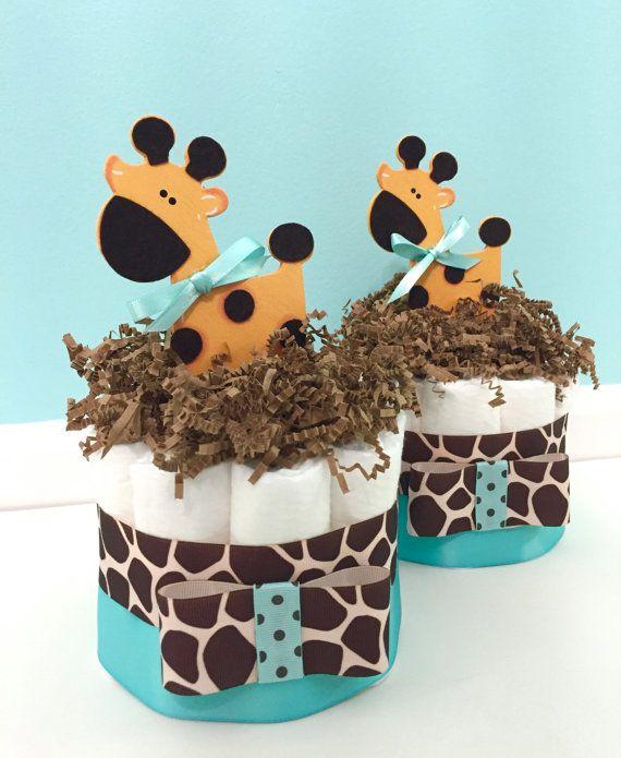 Diaper Cake Mini Giraffe Baby Shower Diaper by DomesticDivaDesignz