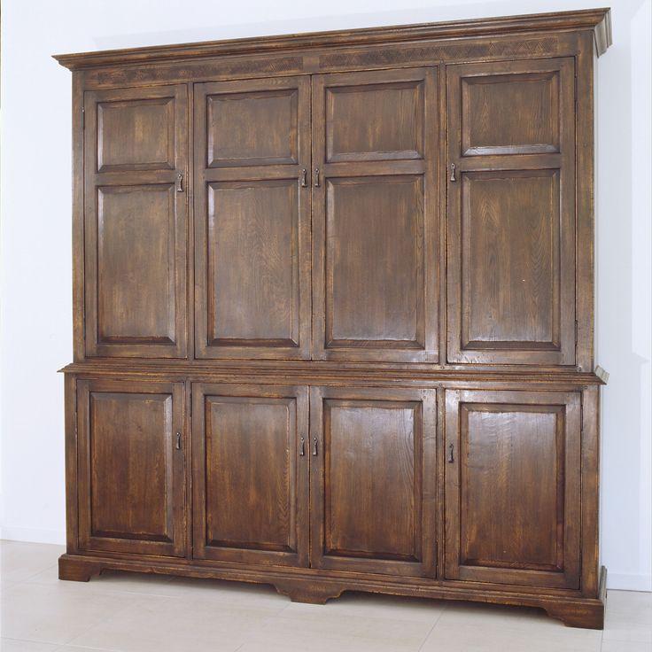 Hampton Liquor Cabinet    French Oak    Retractable Doors (Closed)