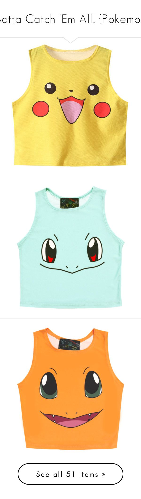 """""""Gotta Catch 'Em All! {Pokemon}"""" by julietxmonnier ❤ liked on Polyvore featuring tops, shirts, crop tops, tank tops, pokemon, halter crop top, halter shirt, halter-neck tops, yellow halter top and plunge-neck tops"""