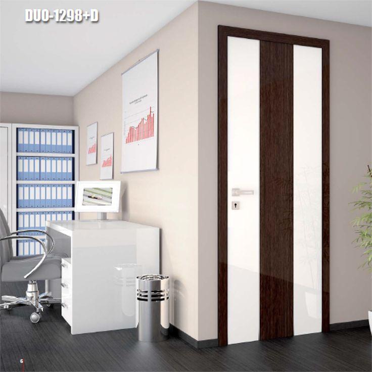 Drzwi wewnętrzne Umberto Cobeli model DUO-1298+D. Drzwi są oklejone błyszczącą folią akrylową oraz wzorzystą folią PCV.
