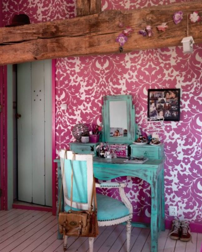 """This pink wallpaper is from our feature """"Heavenly Living"""""""