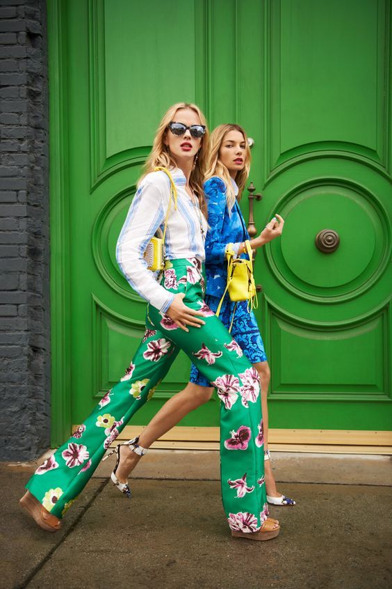 Printed statement trousers.