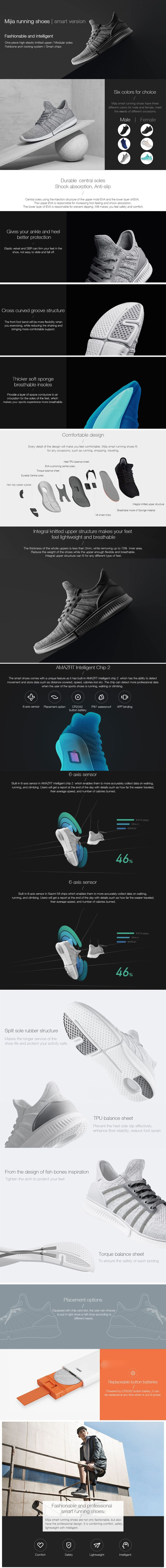 The shoes come with a smart chip that can detect movement and store data such as distance covered, speed, calories lost, etc. providing more professional data.