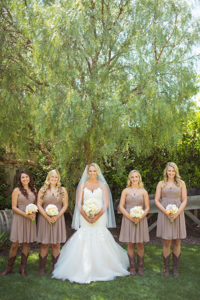 Elegant Western Wedding.  Simple yet elegant color scheme with our favorite cowgirl boots! Classic Old Gringo Nevada Chocolate www.bootstaronline.com