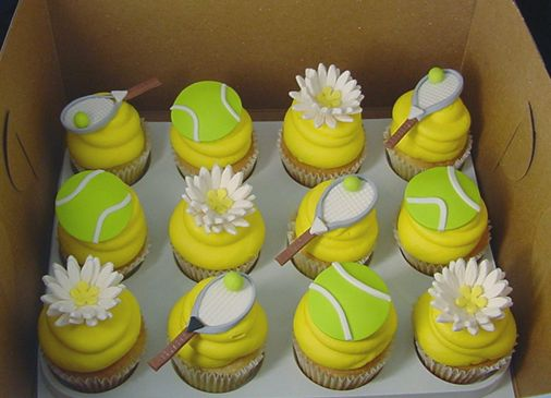 tennis cupcakes! white cake, yellow frosting, white lines on frosting to look like the lines of a tennis ball