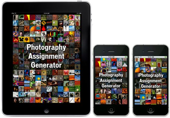 Photography Assignment Generators by photographer and educator Noel Chenier provide over one hundred assignments and hundreds of thousands of random objects, combinations, and scavnger hunts lists. Stay on track for your 365 photo challenge with a daily reminder.
