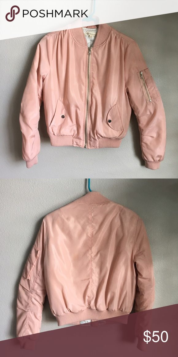 Urban Outfitters Bomber Jacket Hot & Delicious Urban Outfitters pink bomber jacket. Worn very few times. Some dark pink streaks and discoloration spots on jacket, lightly visible. Urban Outfitters Jackets & Coats