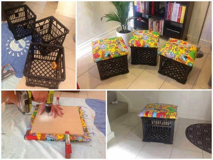 Eco ideas y reciclaje puf reciclado paso a paso casa - Como forrar muebles con tela paso a paso ...