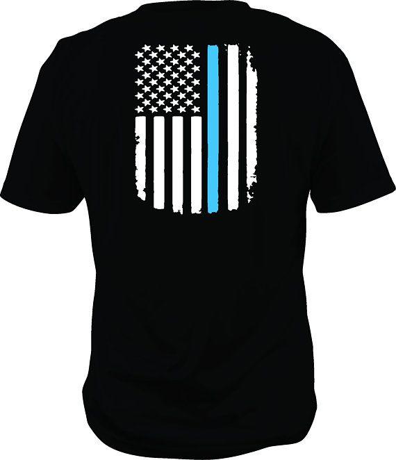 Thin Blue Line American Flag Custom Shirt thin blue line back the blue police flag cop shirt support the blue to 5x by ArkansasMade