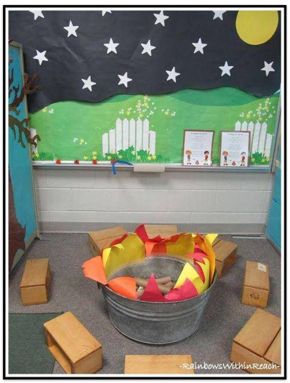There's nothing better than reading a good book around a warm campfire. This is a lovely idea for a book corner in the classroom.
