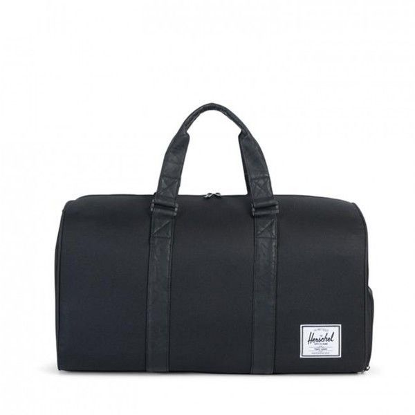 Herschel Supply Co. Novel Duffle Bag (Black & Black) (120 CAD) ❤ liked on Polyvore featuring men's fashion, men's bags and men's duffel bags