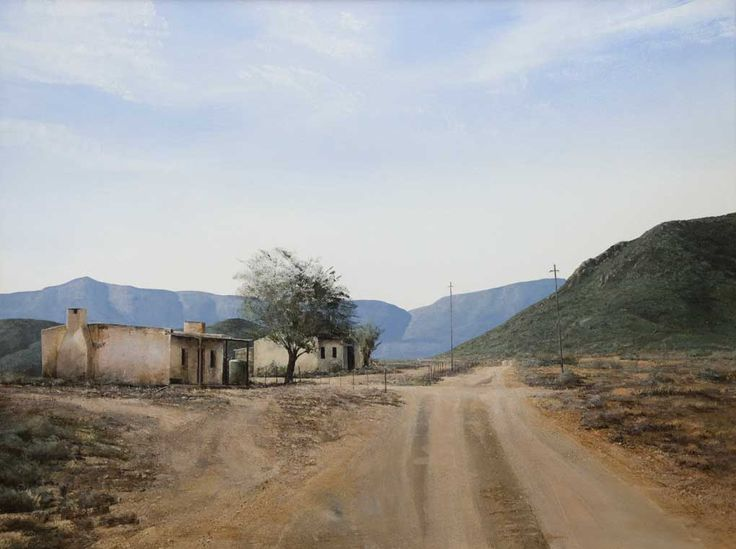 "peter Bonney South African Karroo Landscape artist image title ""The Road To Groot Swartberg"""
