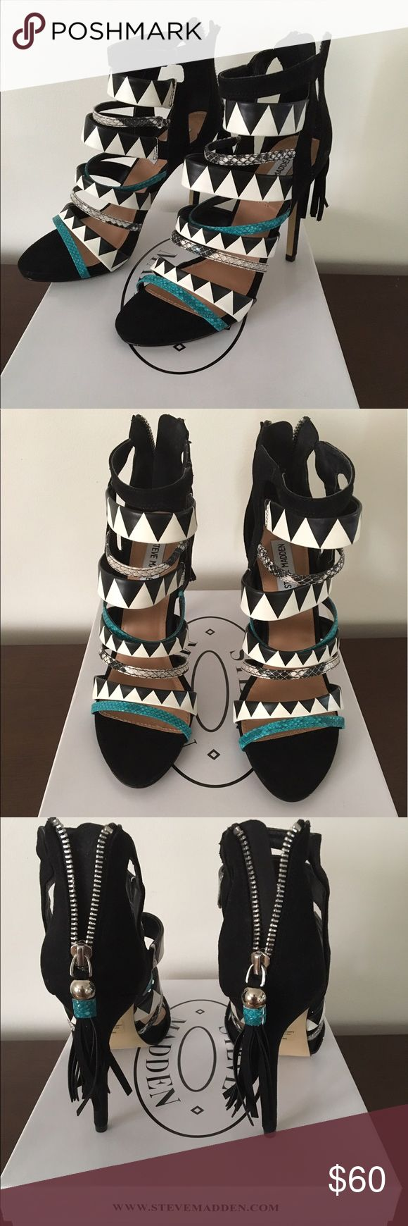 Steve Madden Heels Size 8.5 - Black and White Trending with a splash of Teal. Zip up back. Never worn, only tried on in store Steve Madden Shoes Heels