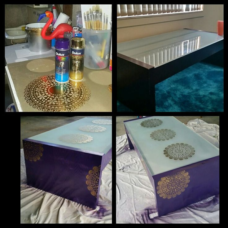 10 year old coffee table makeover with spray paint and stencil