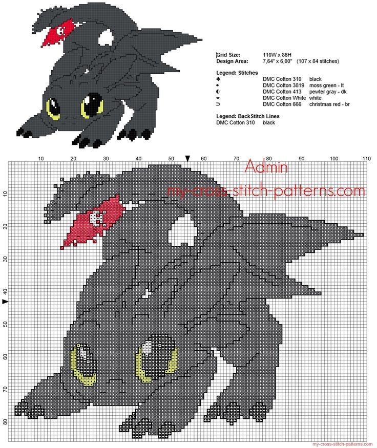 Toothless Dragon cartoon Dragon Trainer How To Train Your Dragon cross stitch pattern back stitch