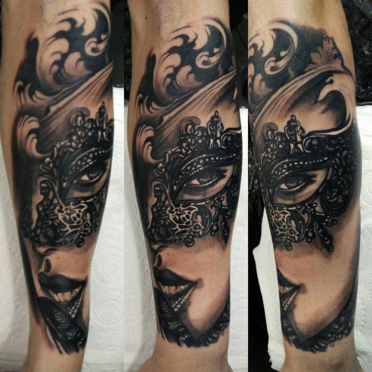Venetian Mask Tattoo edoardo sacerdoti UK tattoo artist based in Rock'n'Roll Tattoo Glasgow