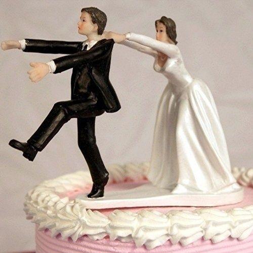 Wedding Cake Topper Groom Running Away