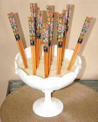 restlessrisa: Japanese Theme Birthday Party  write things in chopsticks