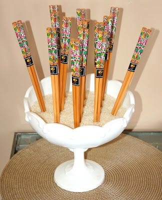 restlessrisa: Japanese Theme Birthday Party  write things in chopsticks