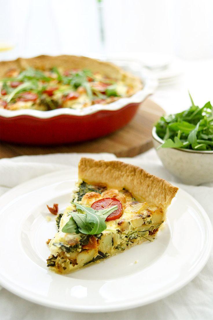 Kartoffel-Quiche mit Spinat, Ziegenkäse, Creme Fraiche, Thymian. gesunde Rezept