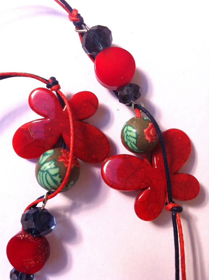 Red and blue beaded necklace  (made to order). $25.00, via Etsy.