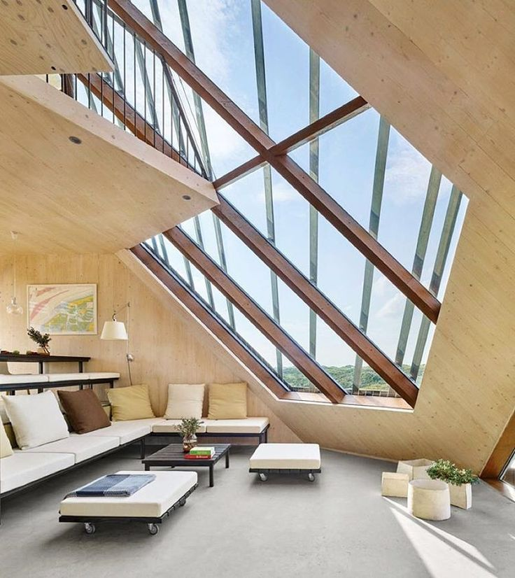 This residence by Marc Koehler Architects in the Netherlands' rolling hills is a sculpture in its own right. Split levels spiral through the house's interior, its polygonal shape derived from the island's dunes. Photography by James Silverman. #architecture #interiors #design #interiordesign #netherlands #house... - Interior Design Ideas, Interior Decor and Designs, Home Design Inspiration, Room Design Ideas, Interior Decorating, Furniture And Accessories