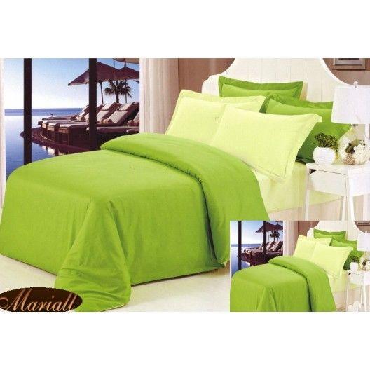 Obliečky na manželskú posteľ zelenej farby bavlnený satén