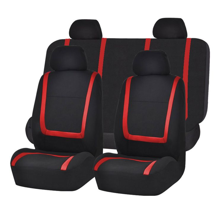 FH Group Red and Black Unique Flat Cloth Auto Seat Covers (Full Set) (Red/ Black)