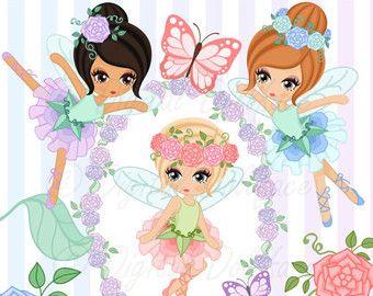Items similar to buy2get1 fairy clipart set - garden fairies on Etsy