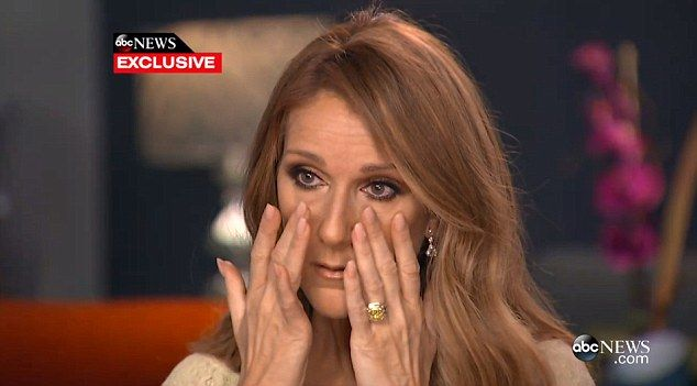 Tears: Celine Dion got emotional while discussing her husband's battle with throat cancer