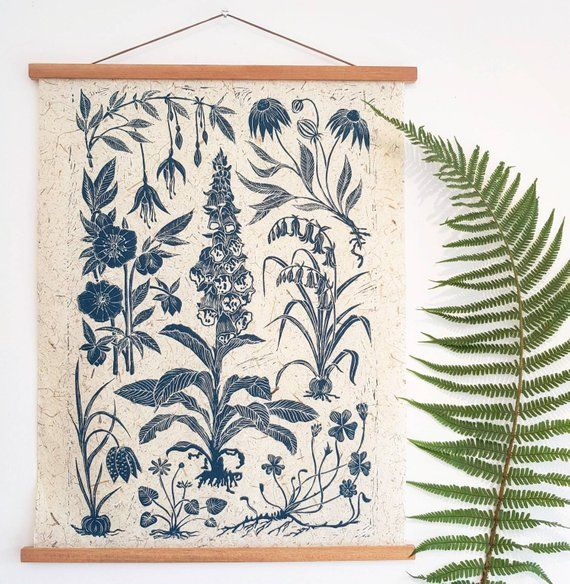 Weeds Wildflowers Large 25 X 19 Inch Botanical Lino Print In Teal Colour Printed With High Quality Caligo Inks On Delicate Handmade Lino Print Linocut Prints
