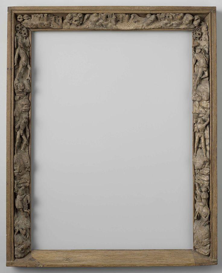 | Houten schilderijlijst met figurale voorstellingen, c. 1515 - c. 1520 | Houten schilderijlijst met figurale voorstellingen. De lijst heeft een vlakke rug en vlakke wandbekroning afgerond door een kraal. Op de wand van de stijlen en bovenregel zitten, met een andere houtsoort, in hoog reliëf, velerlei ornamenten. De stijlen hebben ornamenten in de vorm van mensen, mensen die een paard bereiden, rotsen,  dieren en bomen. De bovenregel is gedecoreerd met drie kastelen, rotsen en bomen. De…