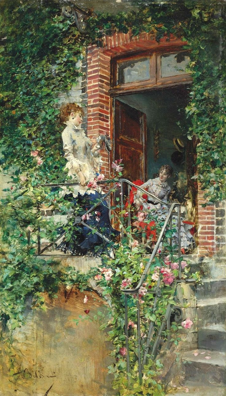 Giovanni Boldini (Italian painter) 1842 - 1931 On the Terrace, s.d. oil on panel 11 3/4 x 6 7/8 in. (29.8 x 17.4 cm.) signed Boldini (lower left) private collection