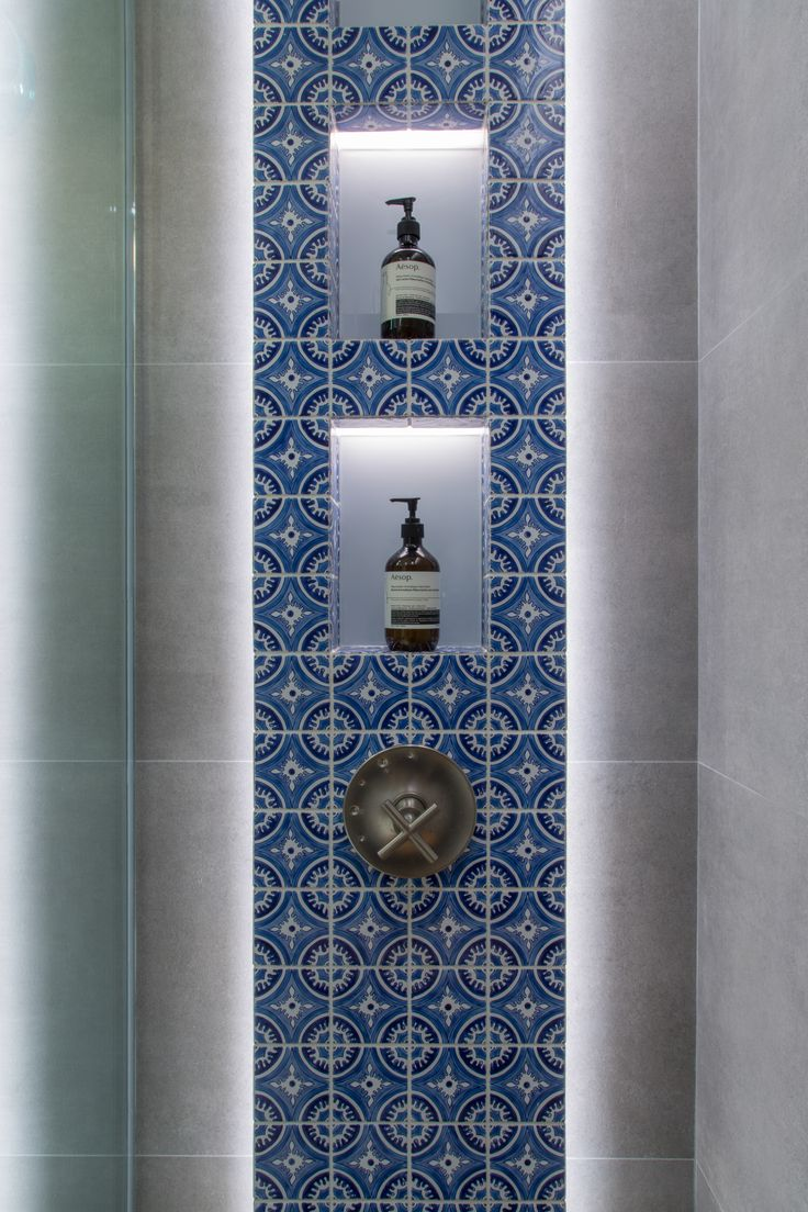 Fujiya Mansions , Hong Kong by Liquid Interiors - residential design, eco interior design, sustainable interior design, bathroom design, Turkish inspired tile, patterned tile, stylish design, antique tile, shower area, indirect lights, recessed shelving