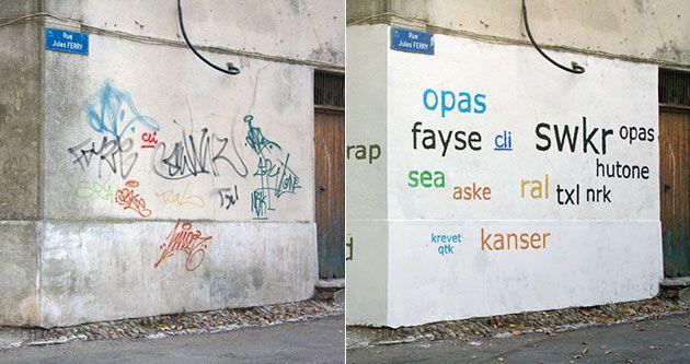 """Aus unleserlich mach klar - ein Künstler übersetzte für nicht Graffiti-Kenner die Tags in Druckschrift ;) da können wir nur sagen: """"Na vielen Dank!"""" (Mathieu-Tremblin-Tag-Clouds)"""