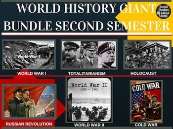 World History Second Semester GIANT BUNDLE 75 Lessons WWI WWII COLD WAR **PLEASE READ**:  I am either going to mail out a thumb drive or I will give you al ink to download immediately through google drive. Please email me to tell you which one you prefer.