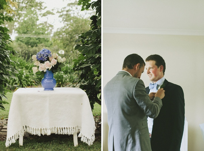 """Flowers at the """"alter"""" and Mike helping Lewis finish dressing."""