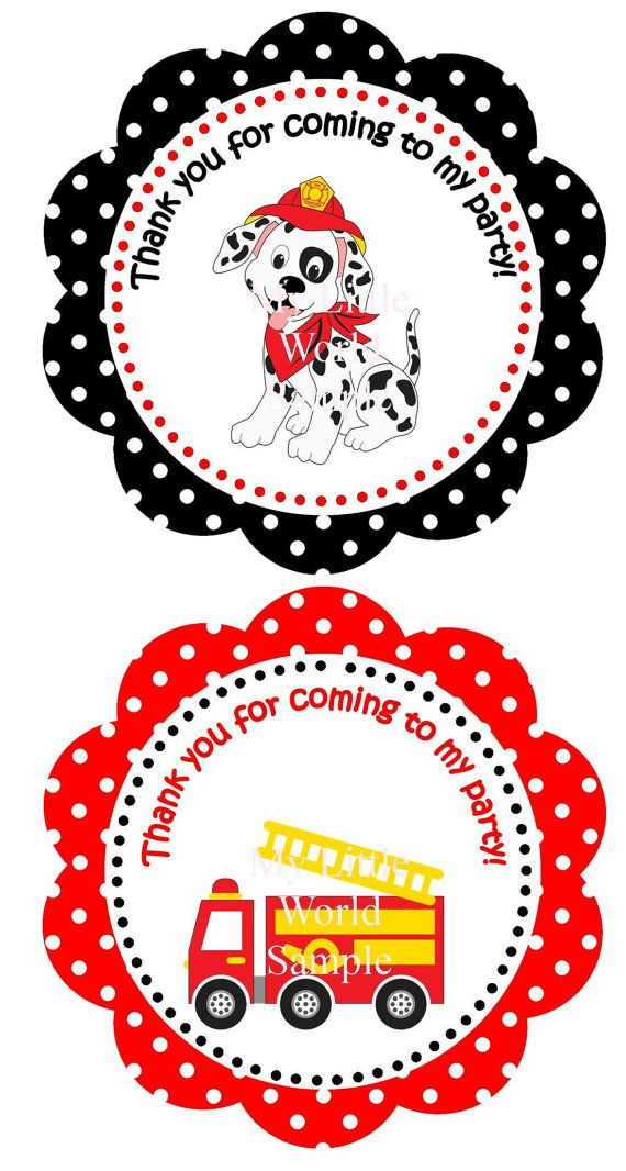 Fire Truck Party Favor Tags dalmatian by TresChicPartyDesigns, $3.50