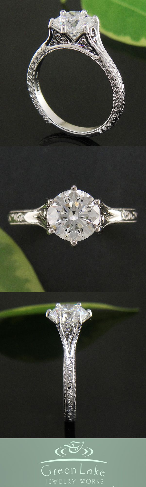 Antique style diamond and platinum ring with old world hand engraved details