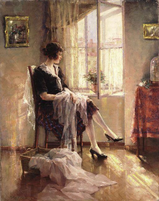 Argiros Umbertos (1884-1963) Near the Window, 1926 Αργυρός Ουμβέρτος (1884 - 1963) Κοντά στο παράθυρο, 1926