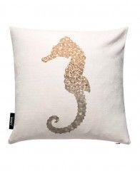 Glitter - Gold Seahorse-JUNIQE Pillows