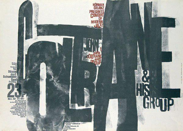 Cartel de un concierto de John Coltrane & His Group, obra del mastro Günther Kieser