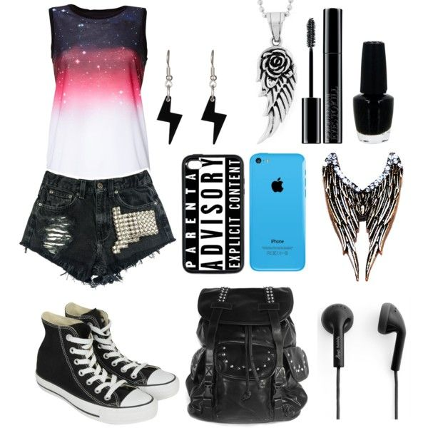 I'm bored by yoitsmeg87 on Polyvore featuring polyvore fashion style Converse West Coast Jewelry Tatty Devine Happy Plugs Giorgio Armani OPI