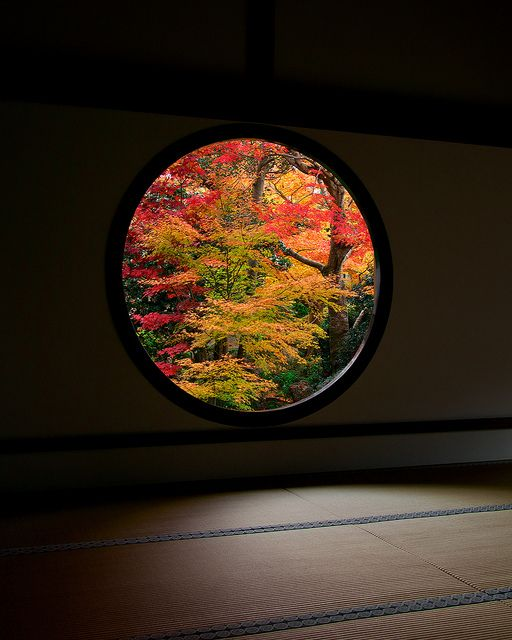 the Window of Wisdom 悟りの窓 at Genko-an temple, Kyoto, Japan