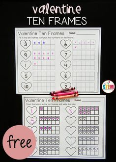 Valentine heart ten frames