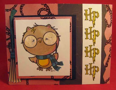 """2 Cute Ink Design Team- Cute achievement card using """"Harry Potter Owl digi"""" created by DT member Camille"""