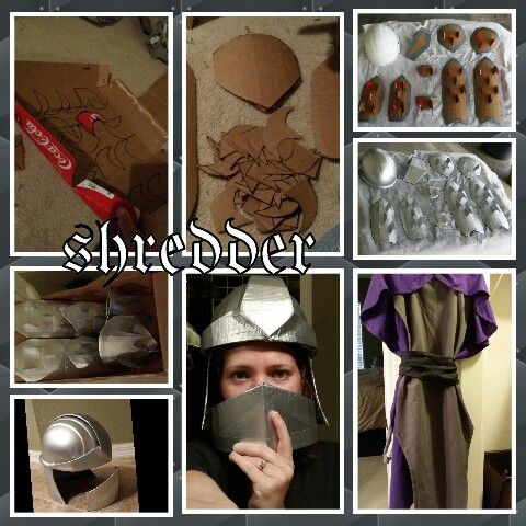 Hubby's shredder costume. I will be April from the new cartoon. Pics to follow soon.