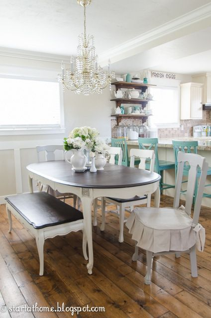 Start at Home Decor's French Cottage farmhouse style table with pops of aqua. Dining area & kitchen.