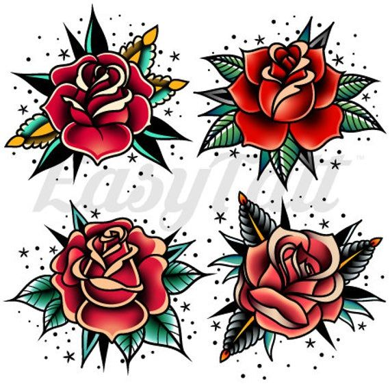 Traditional Rose Temporary Tattoos Rose Tattoos Temporary Rose Etsy In 2020 Traditional Tattoo Flowers Traditional Rose Tattoos Old School Rose