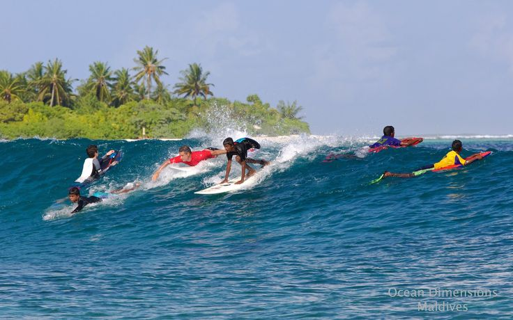 Surfing with Ocean Dimensions, Maldives. Just across from Six Senses Laamu is Hulimendhoo break a wave for beginner to intermediate surfers. If you go on the weekend you can surf with the local children which is a lot of fun.